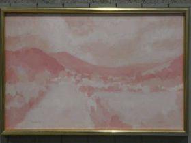 Edward Heeley (1935-2011) Oil on canvas pastoral landscape in pink Nidderdale signed lower left