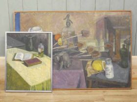 Edward Heeley (1935-2011) Oil on board still life with soda syphon c1957 plus later oil on canvas