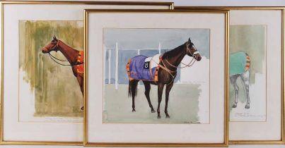 Edward Heeley (1935-2011) Three watercolour studies of racehorses Scottish Folly, Mr AD Bastiman,