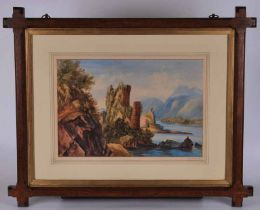 Pair of 19th century watercolours On The Rhine signed to the mount Ellen Charter 1866, in Arts &