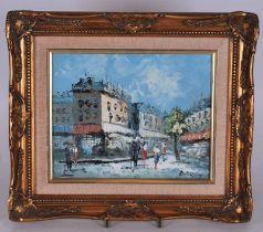 Burnett (20th century) Parisien Street scene, oil on canvas 19cm x 24cm
