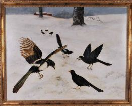 Unatributed. Magpies, crows etc in the snow, oil on board, in gold coloured frame 69cm x 90cm
