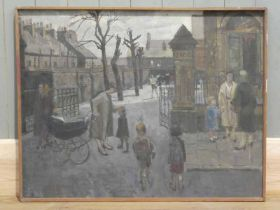 Unsigned: large oil on board At The School Gates 71cm x 91cm in wooden frame, together with