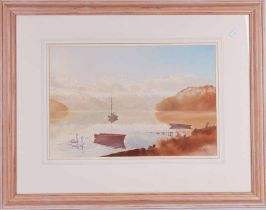 Pair of oil pastel landscapes of rowing boats and dingy, possibly by Margaret Harris, Channel