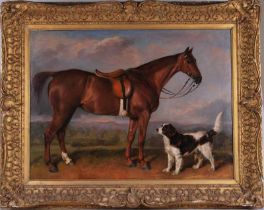 Unsigned oil on canvas of hunting horse and spaniel in a landscape setting, in a gilt frame, relined