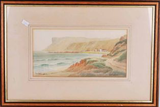 G.W. Morrison (20th century) Fair Head, Antrim, a figured watercolour coastal landscape, signed