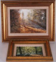 N. Spilman (20th century) Spring Night and Autumn Night, two oil on boards in gilt frames