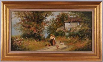 Les Parson (20th century) Young Couple on a Country Track, oil on canvas 40cm x 60cm in gilt frame