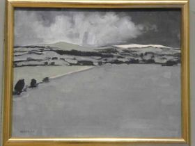 Edward Heeley (1935-2011) Oil on canvas pastoral landscape with foreboding clouds Airdale signed