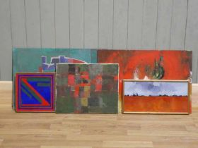 Edward Heeley (1935-2011) A group of abstract oil acrylic paintings including two on board, two on