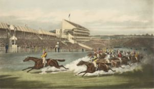 """after HENRY THOMAS ALKEN (English 1785-1851) AN EQUESTRIAN PRINT, """"The Winning Post,"""" offset color"""