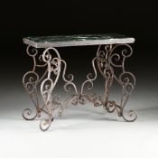A FRENCH STYLE MARBLE TOPPED PATINATED WROUGHT IRON PASTRY TABLE, MODERN, with a chamfered