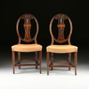 A PAIR OF AMERICAN HEPPLEWHITE STYLE INLAID MAHOGANY OVAL BACK CHAIRS, NEW YORK, EARLY 20TH CENTURY,
