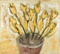 """ROBERT BOURASSEAU (French b. 1956) A PAINTING, """"Fleur Jaunes,"""" 2000, oil on canvas, signed, titled"""