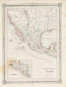 """A REPUBLIC OF TEXAS MAP, """"Méxique,"""" THUNOT DUVOTENAY, PARIS, CIRCA 1843, hand-colored lithograph on"""