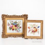 Two Floral Paintings on Porcelain