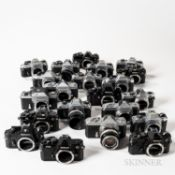 Group of Nikon F and Nikkormat 35mm Camera Bodies.