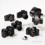 Six Nikon Cameras and Lenses