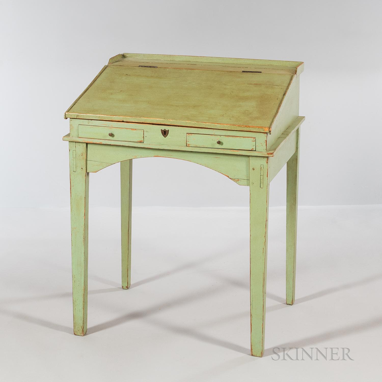 Green-painted Pine Slant-lid Desk