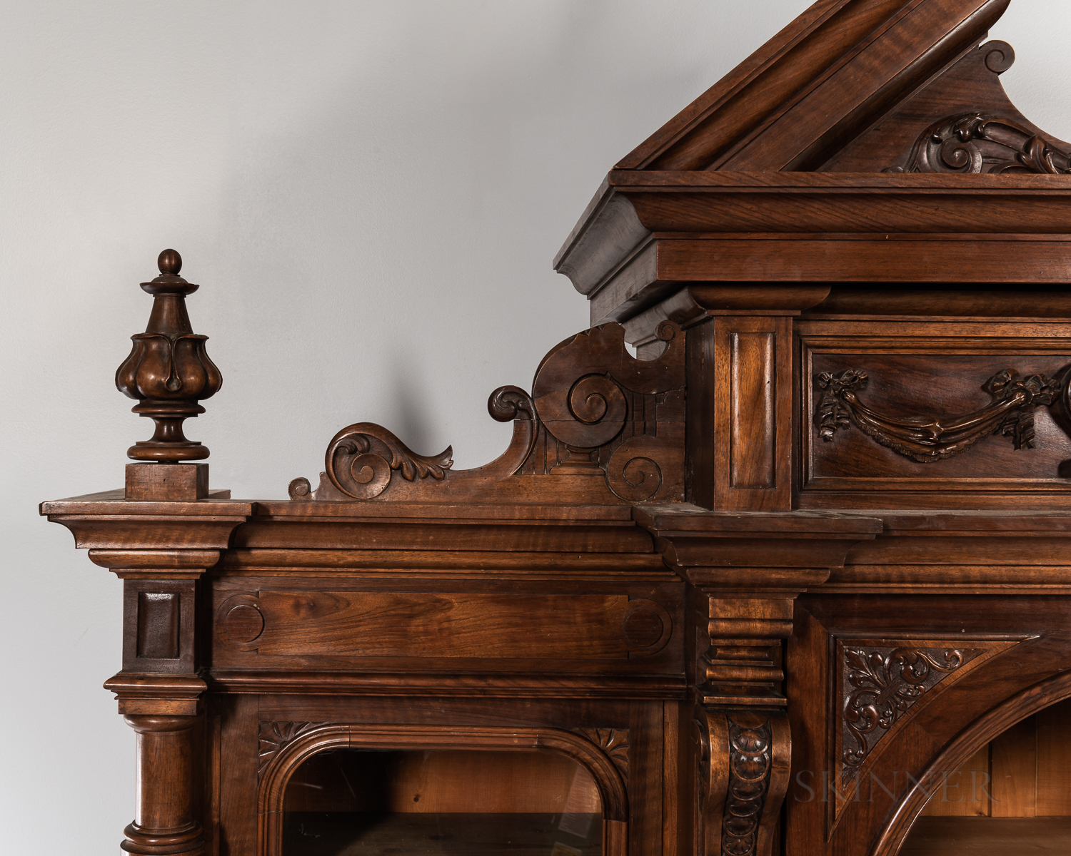Carved Mahogany Breakfront - Image 3 of 8