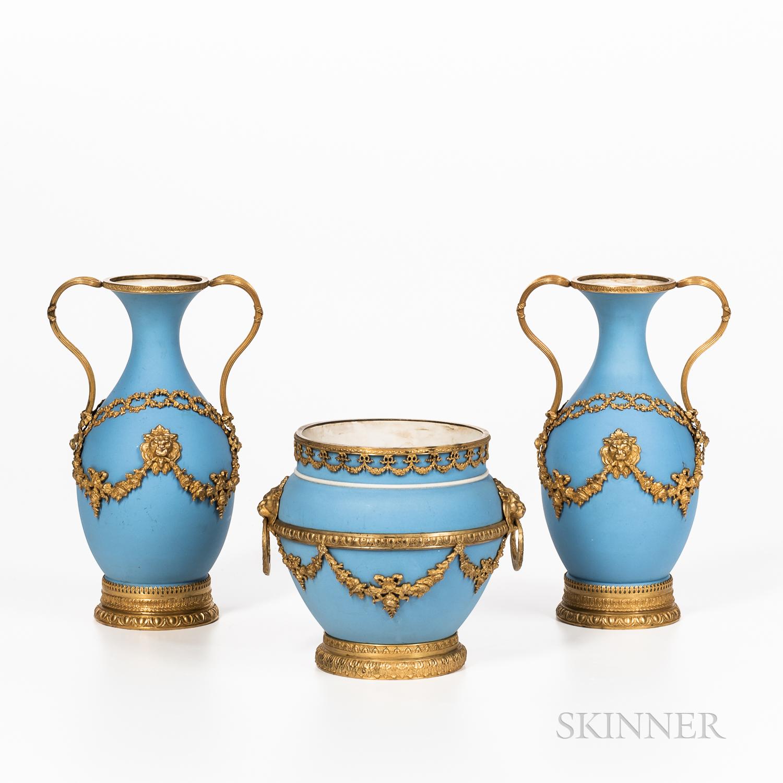 Three Wedgwood Gilt Bronze Mounted Light Blue Jasper Dip Items