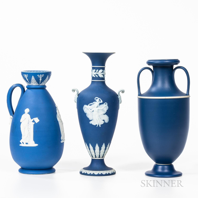 Three Wedgwood Dark Blue Jasper Dip Vases