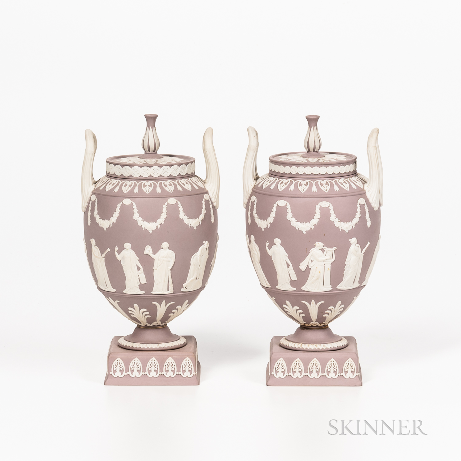 Pair of Modern Wedgwood Solid Lilac Jasper Vases and Covers