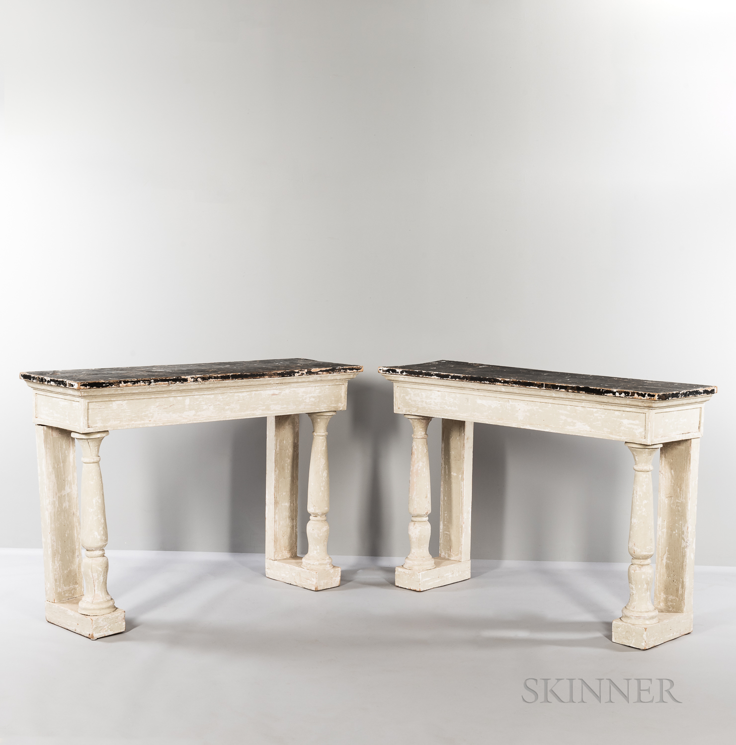 Pair of Painted Consoles/Pier Tables