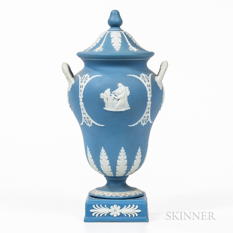 Wedgwood Light Blue Jasper Dip Vase and Cover