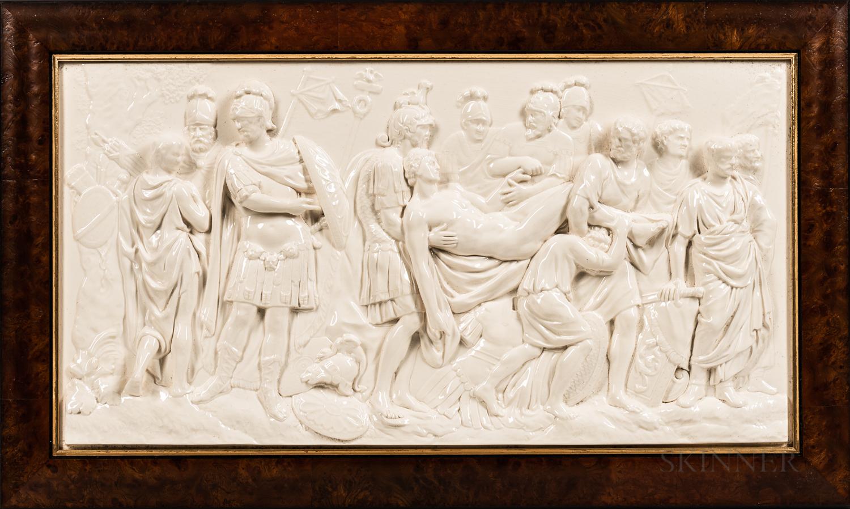 Modern Wedgwood Queen's Ware Death of a Roman Warrior Plaque