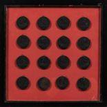 Set of Sixteen Black Intaglios