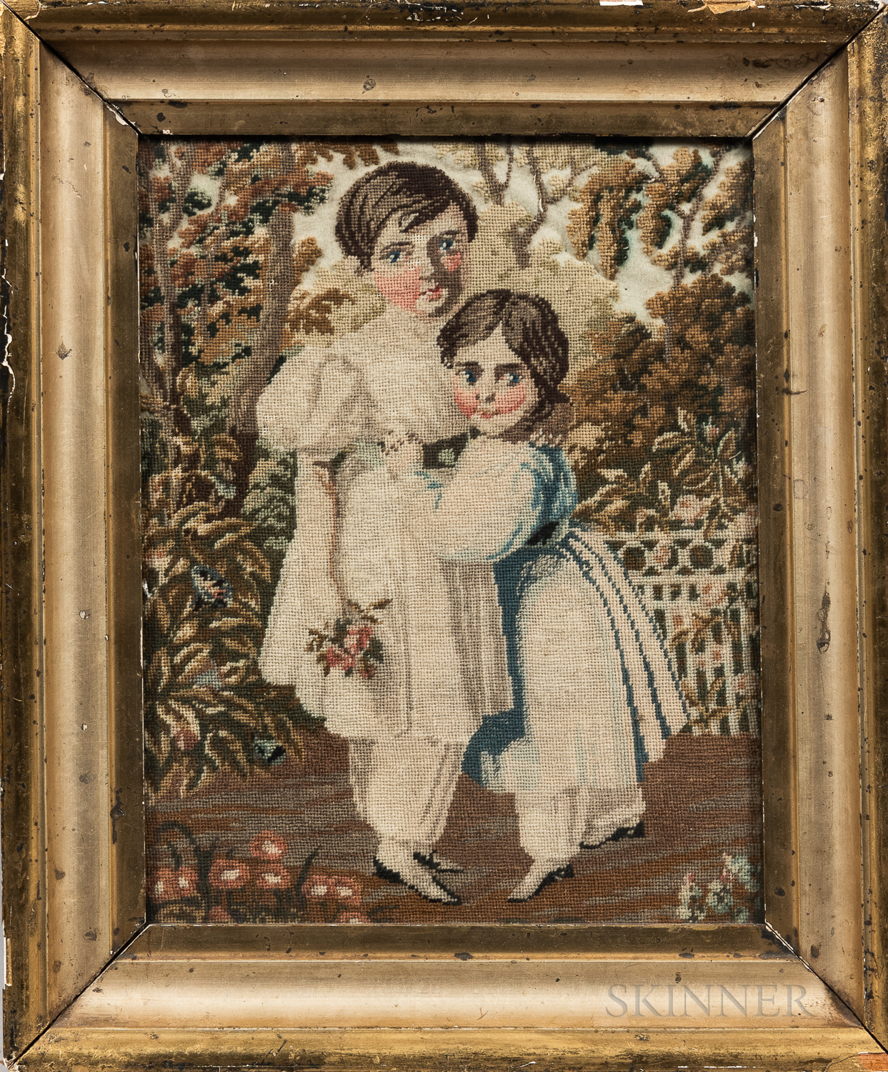 Petit Point Depicting Two Young Girls