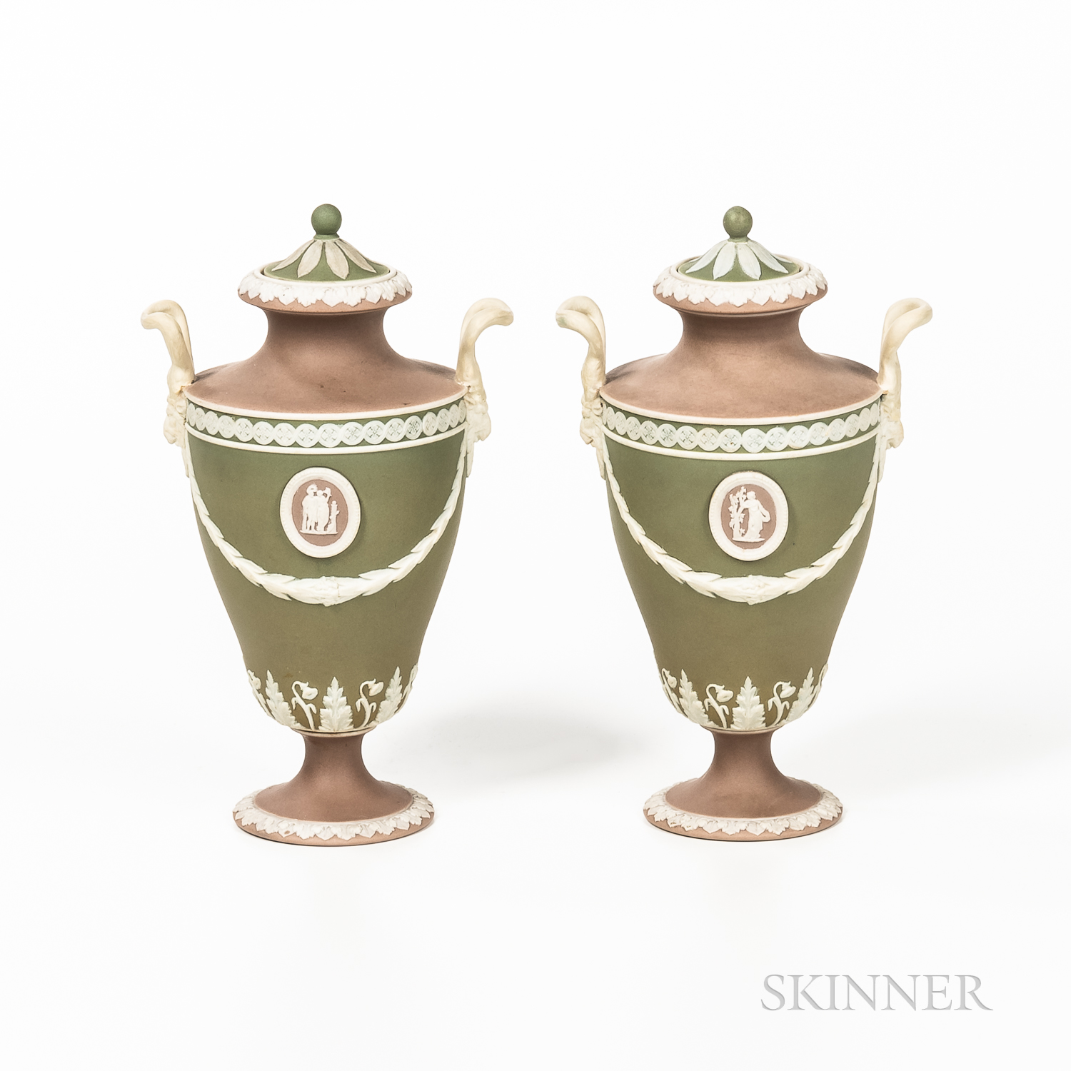 Pair of Wedgwood Tricolor Jasper Dip Vases and Covers