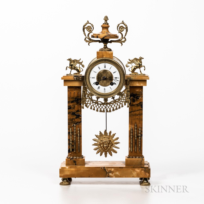 Gilt-bronze and Marble Portico Clock