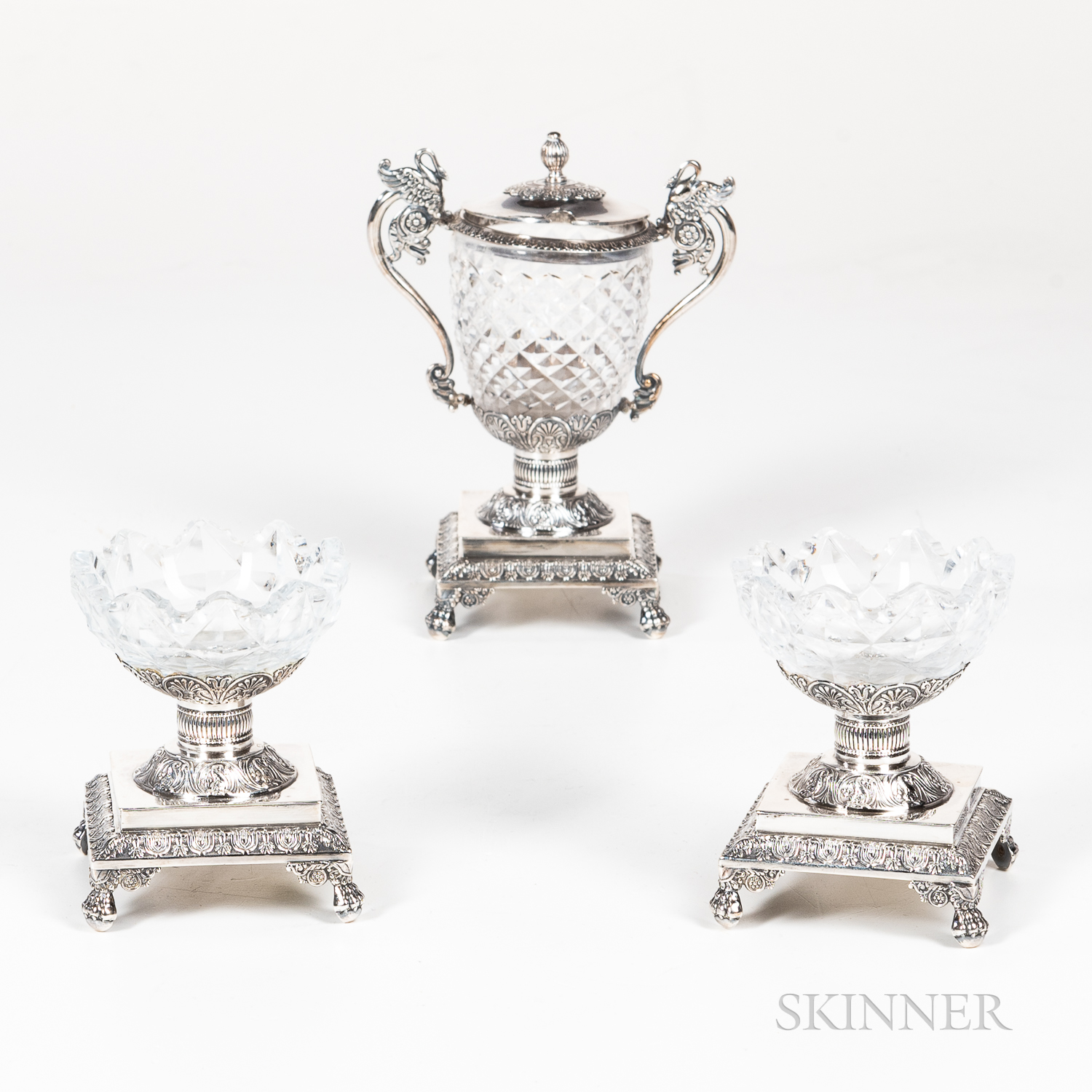 Three French Sterling Silver and Glass Condiment Accessories