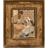 Petit Point Depicting a Young Lady