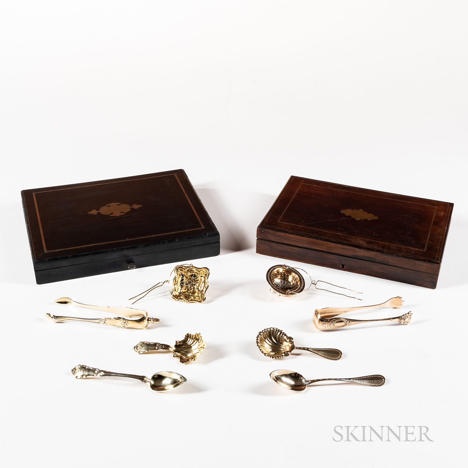 Two Cased French Vermeil .800 Silver Tea Flatware Sets