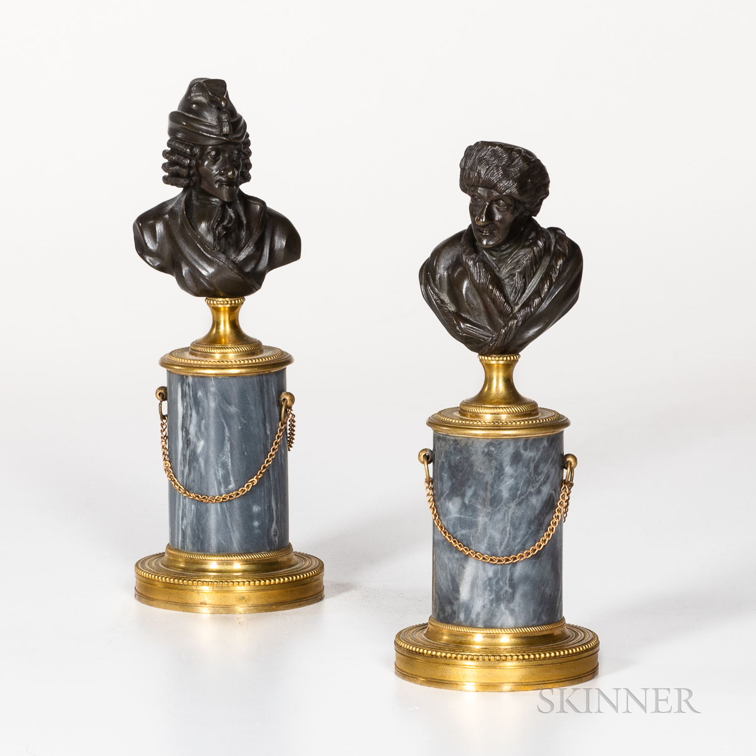 Pair of Louis Philippe Gilded and Patinated Bronze and Marble Busts