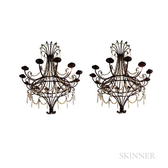 Iron and Crystal French Chandelier