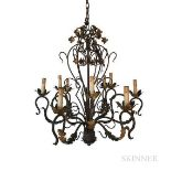Wrought Iron and Gilded Chandelier