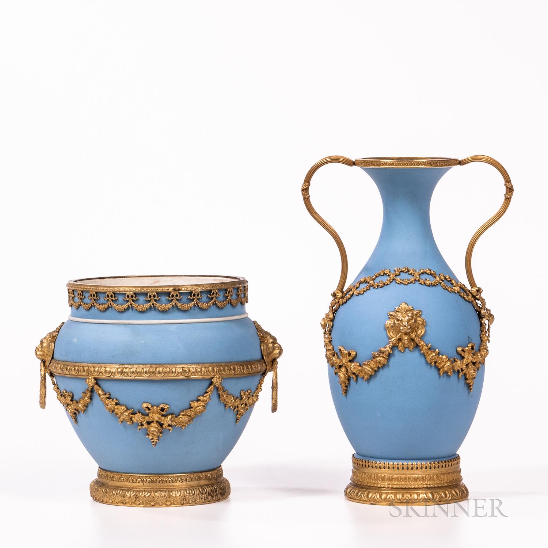Three Wedgwood Gilt Bronze Mounted Light Blue Jasper Dip Items - Image 2 of 2