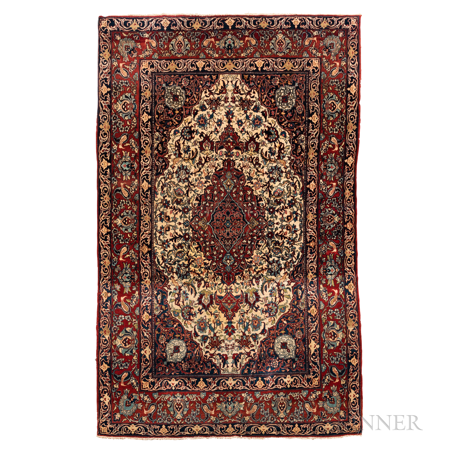 """Isphahan Rug, Iran, c. 1920, featuring a complex red """"pulled"""" medallion on an ivory flower-filled fi"""