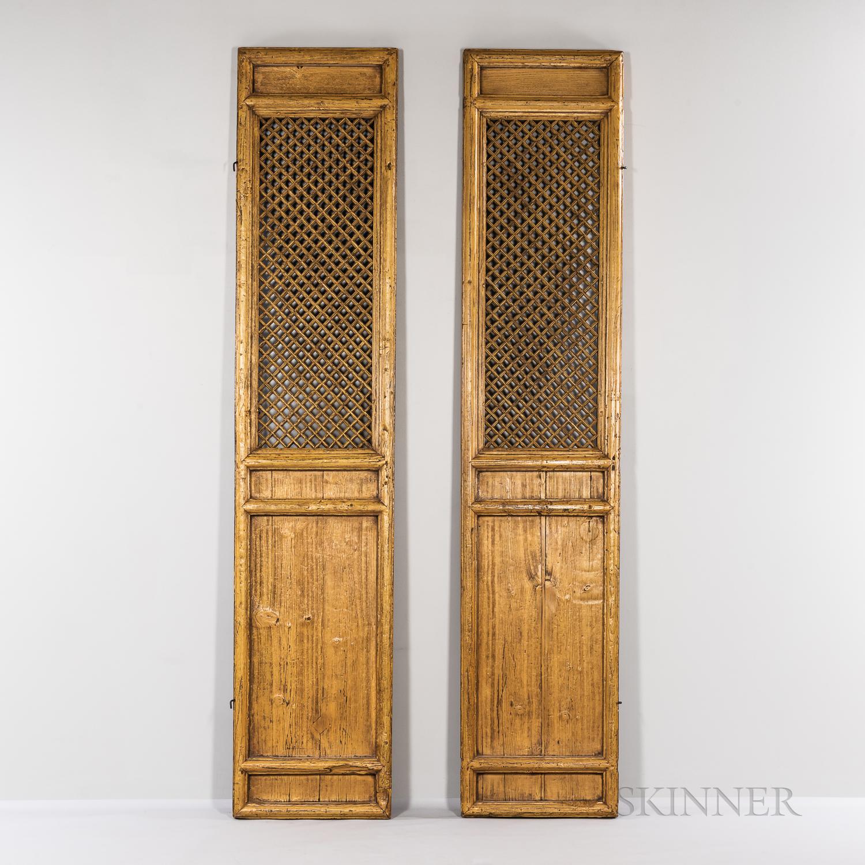Pair of Painted Latticework Doors
