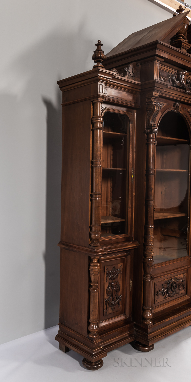 Carved Mahogany Breakfront - Image 4 of 8