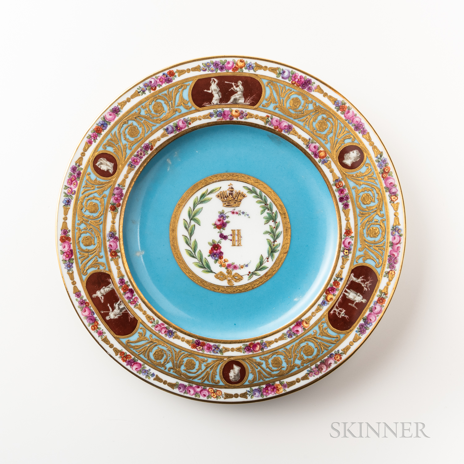 Russian Porcelain Dinner Plate from the Cameo Service