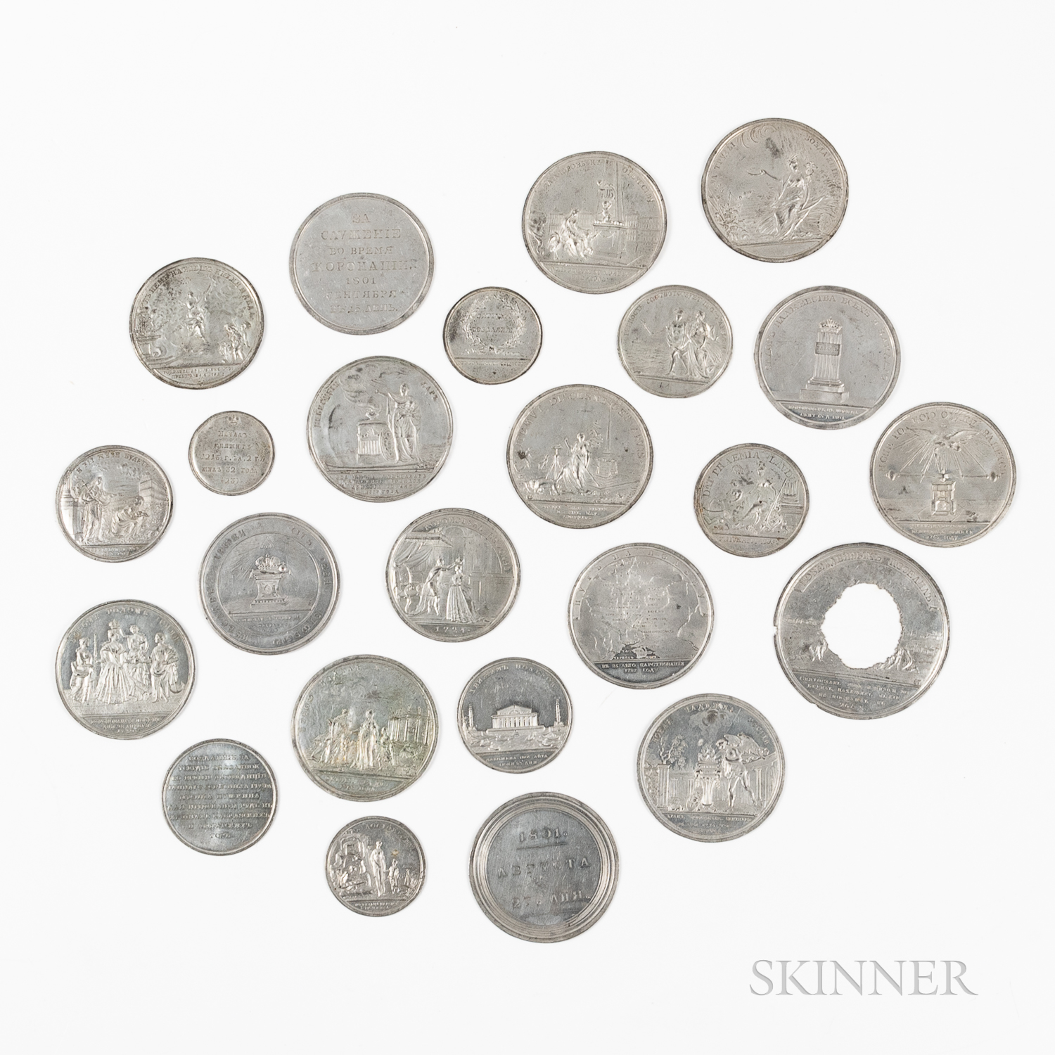 Twenty-four Zinc Classical-themed Russian Table Medals