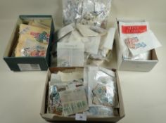 Boxed accummulation of packets, stock-cards etc of GB, Br Empire/C'wealth and ROW stamps, mint and