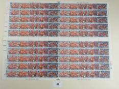 GB QEII Armada commem, complete stamp sheet of 100x18p decimal in se-tenant strips of 5. FV £18. Two