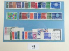 UMM Europa stamp issues on stock-card incl Lichtenstein 1960 issue. Total cat £200+.
