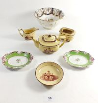 An early 19th century children's part tea set (mostly af) comprising a teapot, jug, sugar bowl and